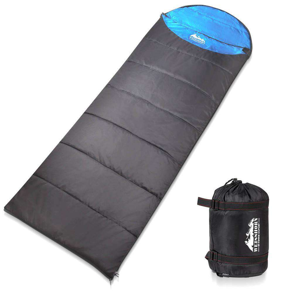 Single Camping Envelope Sleeping Bag Blue Grey