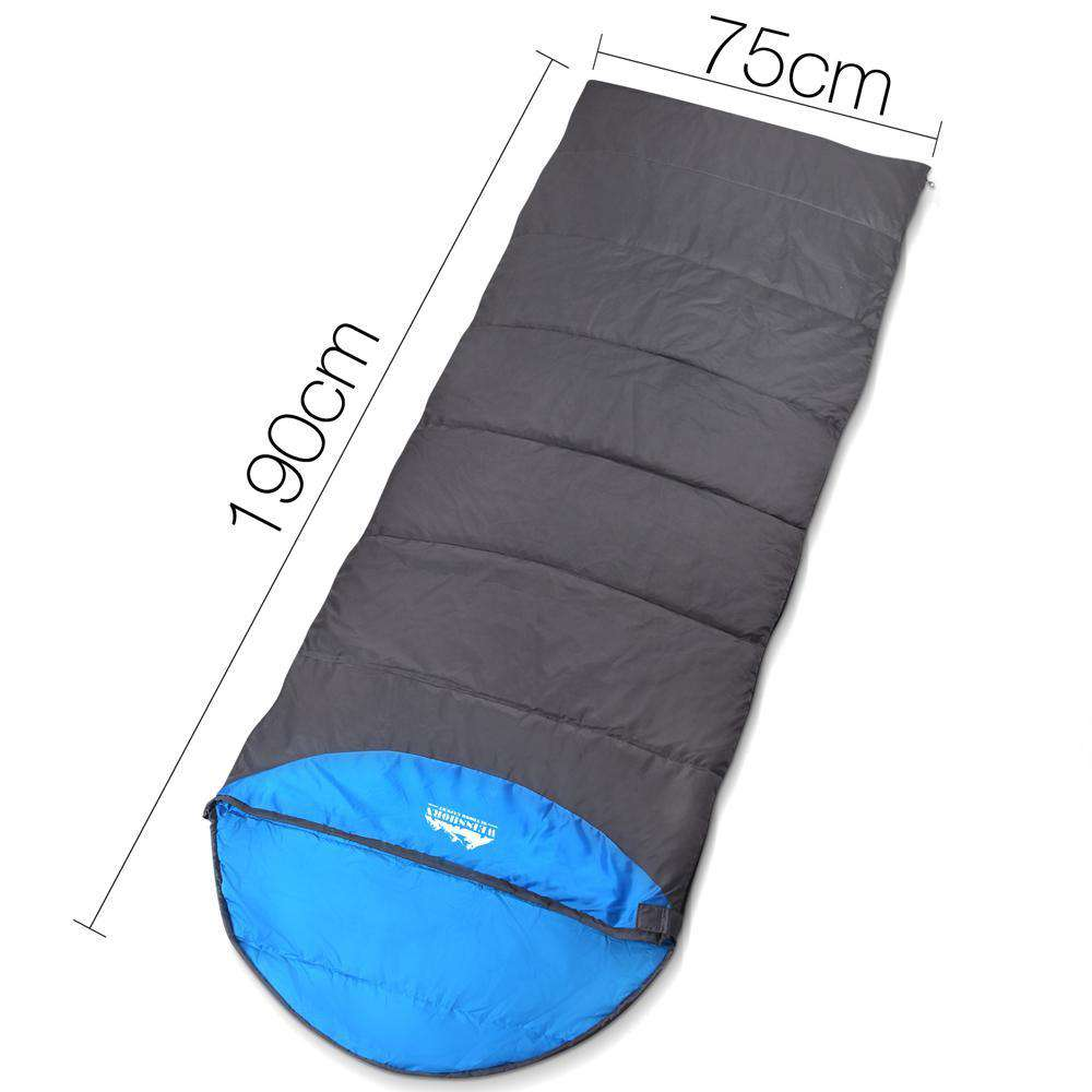 Single Camping Envelope Sleeping Bag Blue Grey - Desirable Home Living