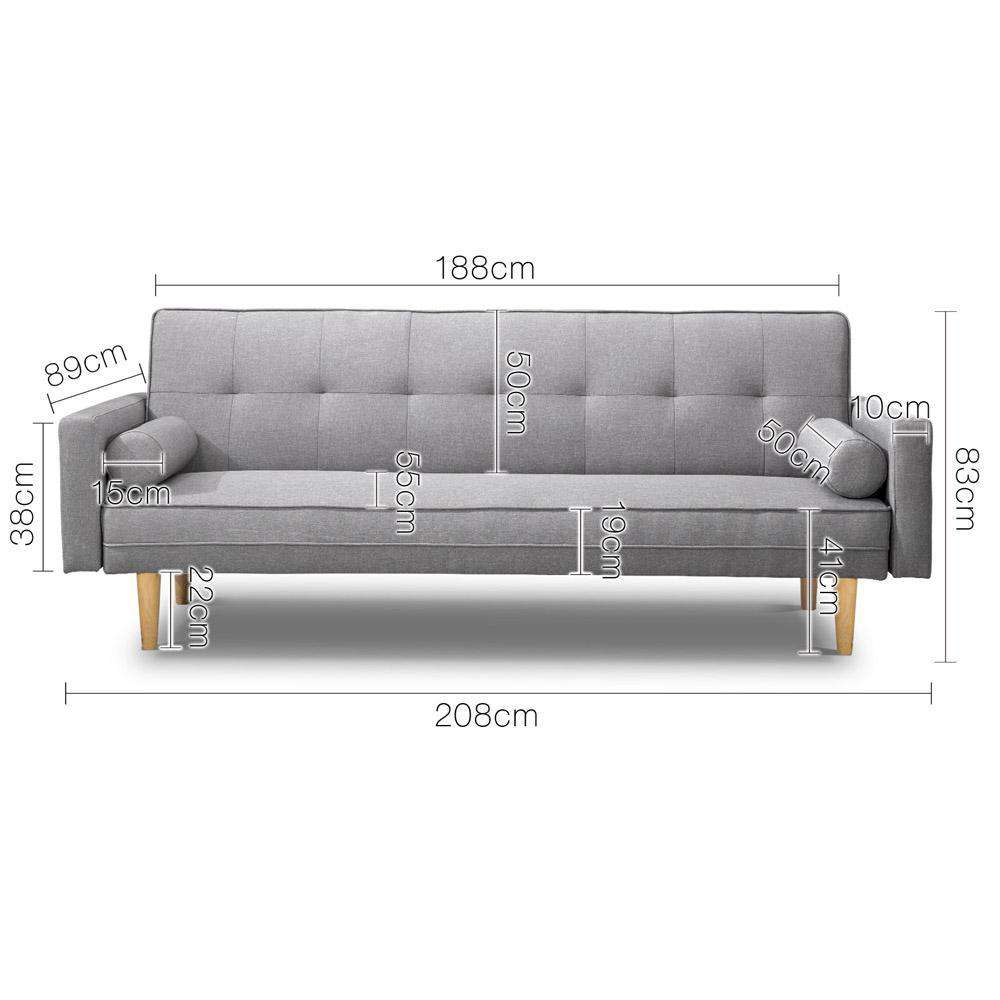 3 Seater Faux Linen Fabric Sofa - Desirable Home Living
