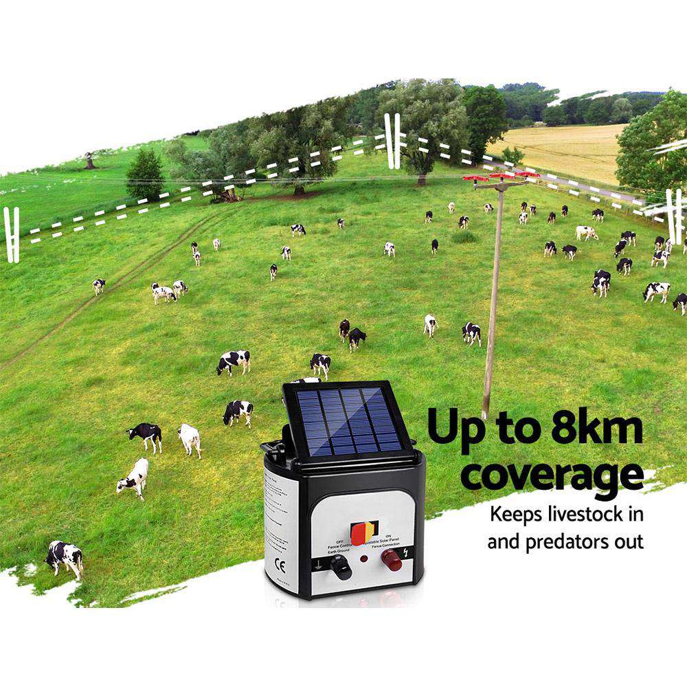 Giantz 8km Solar Power Electric Fence Charger Energiser 0.3J White