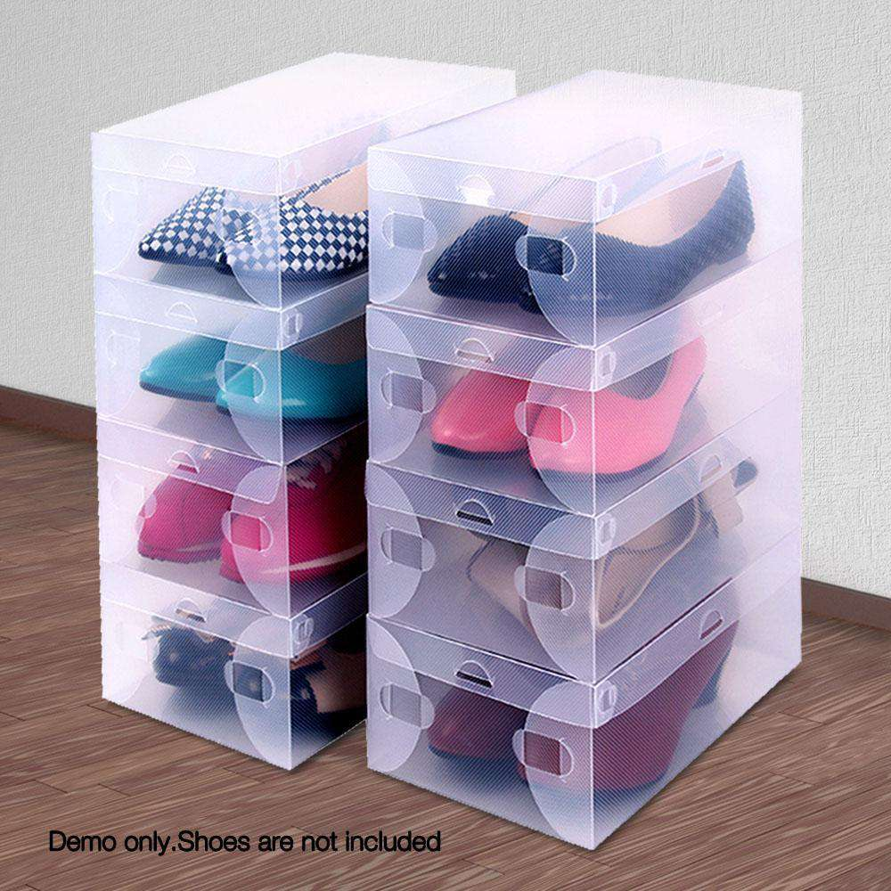 Set of 20 Clear Foldable Portable Shoe Boxes - Desirable Home Living