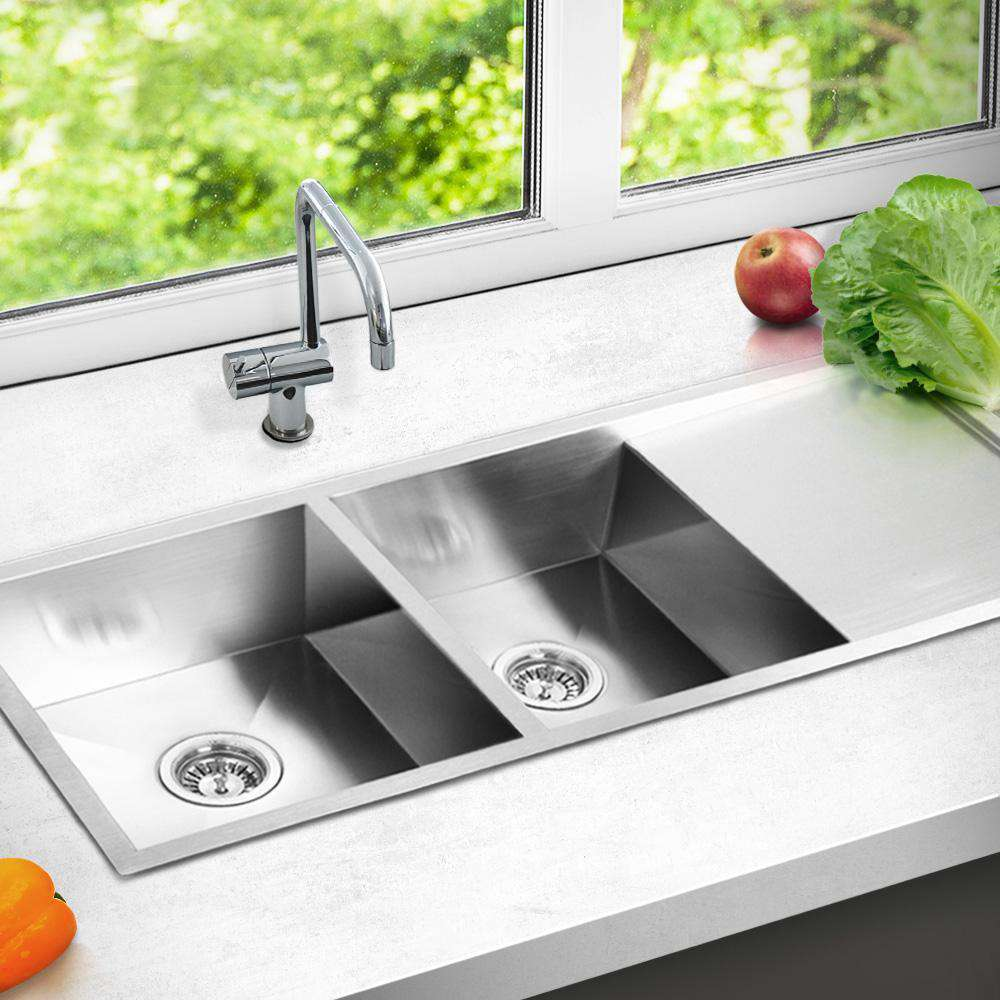 Stainless Steel Kitchen/Laundry Sink w/ Strainer Waste 1114 x 450mm - Desirable Home Living