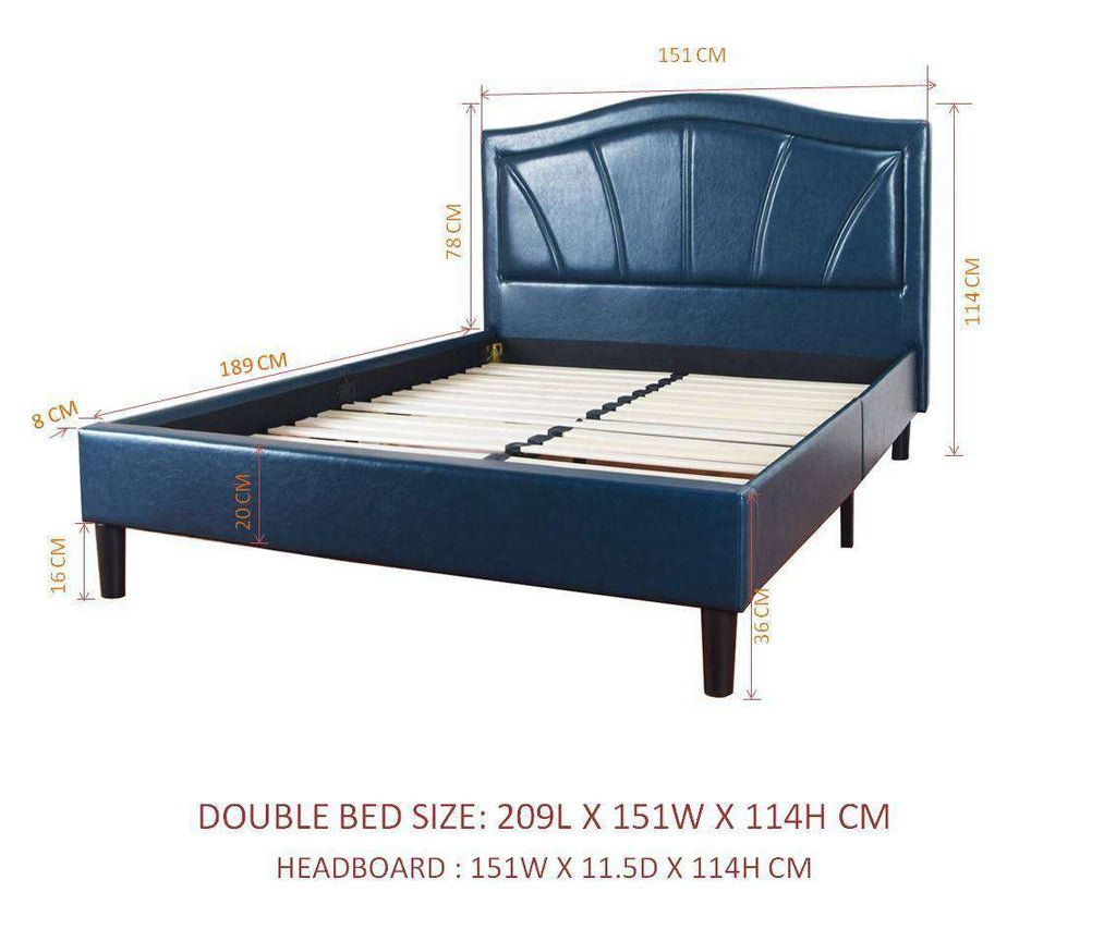 Camberwell Double Bed Blue PU Leather Upholstered