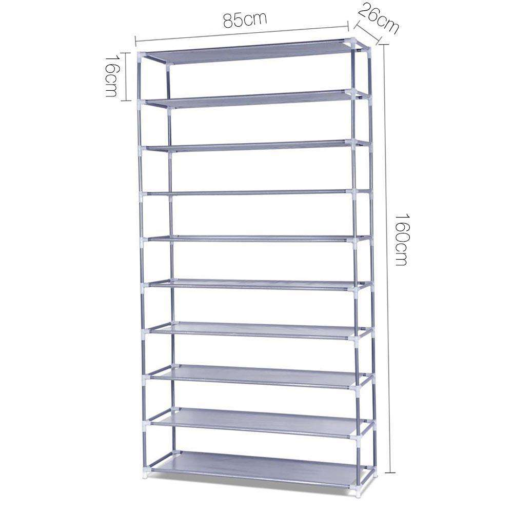 10 Tiers Stackable Shoe Storage Rack – 160cm - Desirable Home Living
