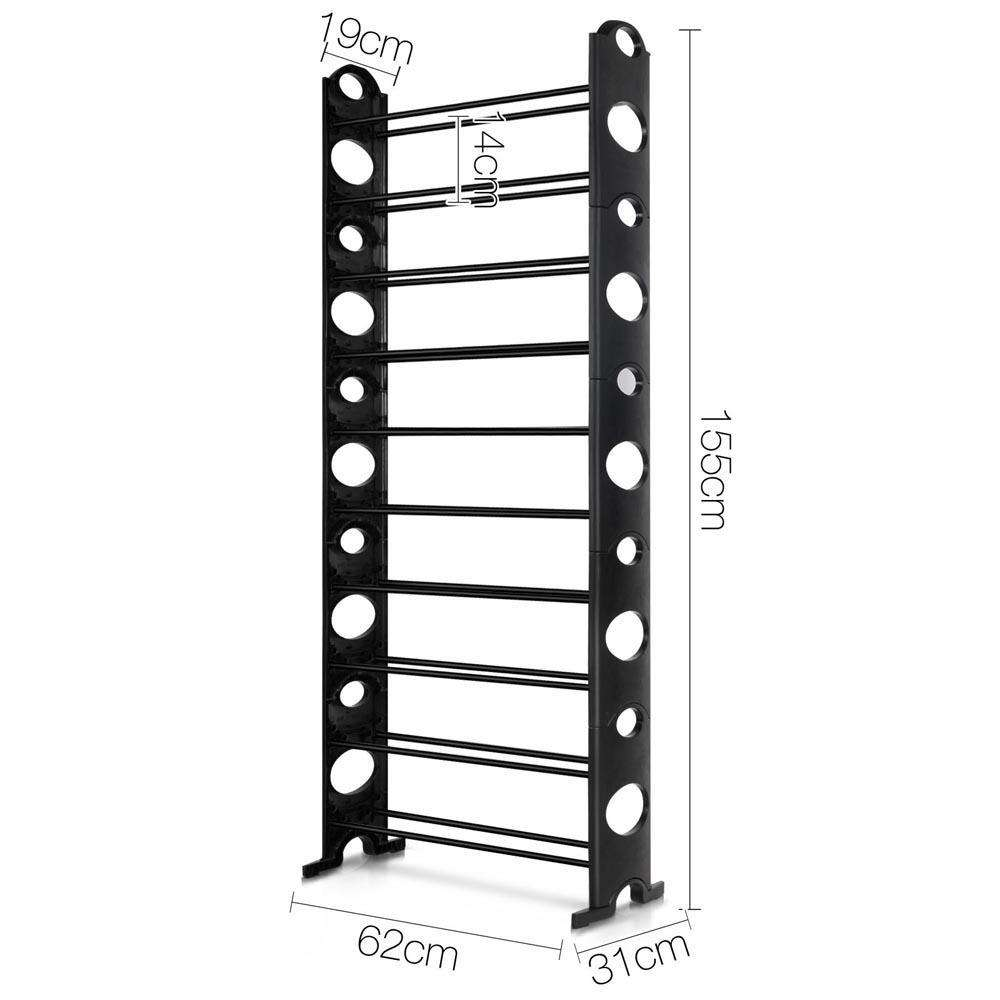 10 Tiers Stackable Shoe Storage Rack – 155CM - Desirable Home Living