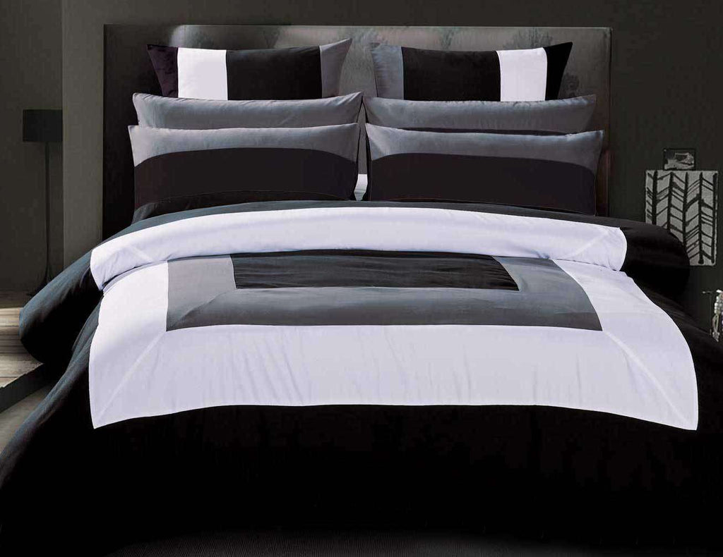 Super King Size Black Grey White Quilt Cover Set(3PCS)