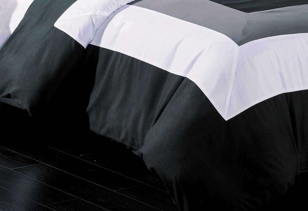 Super King Size Black Grey White Quilt Cover Set(3PCS) - Desirable Home Living
