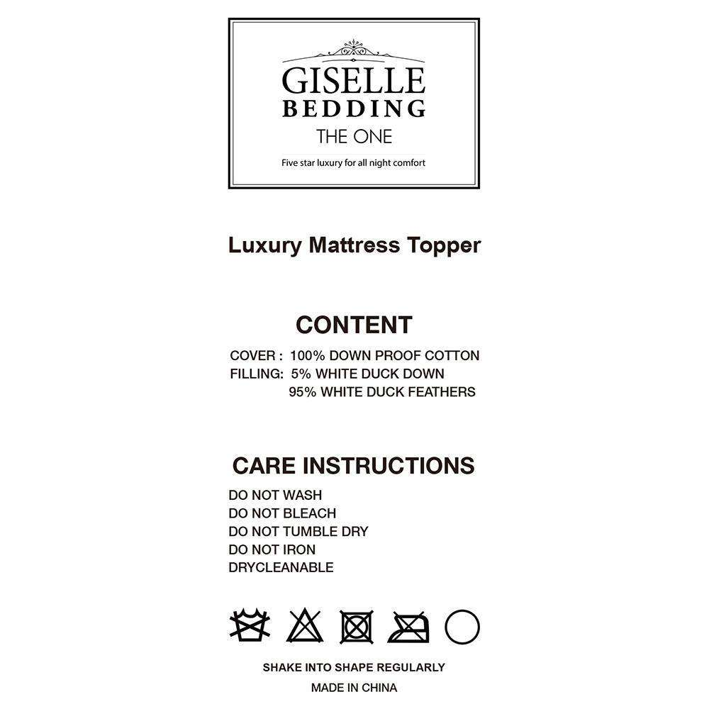 Giselle Bedding Double Size Duck Feather & Down Mattress Topper