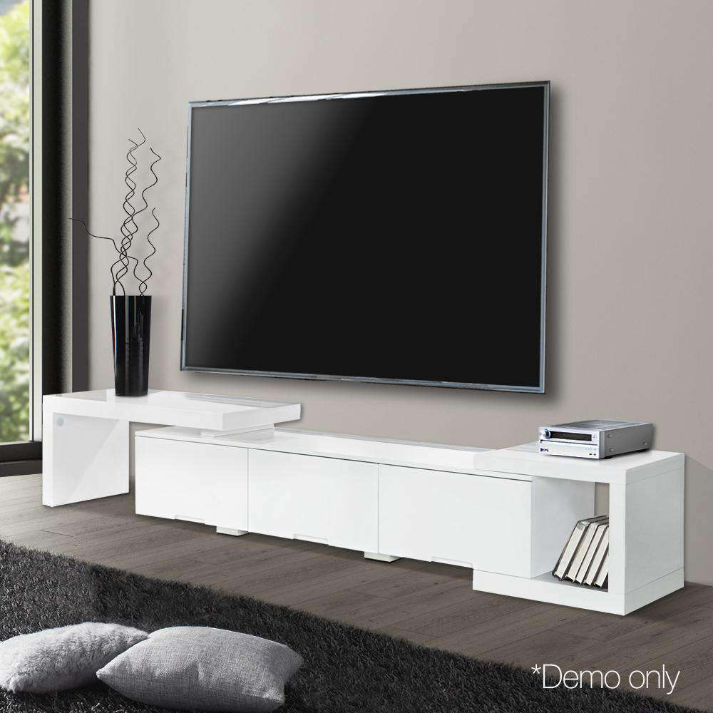 High Gloss Adjustable TV Stand Entertainment Unit 290 cm White - Desirable Home Living