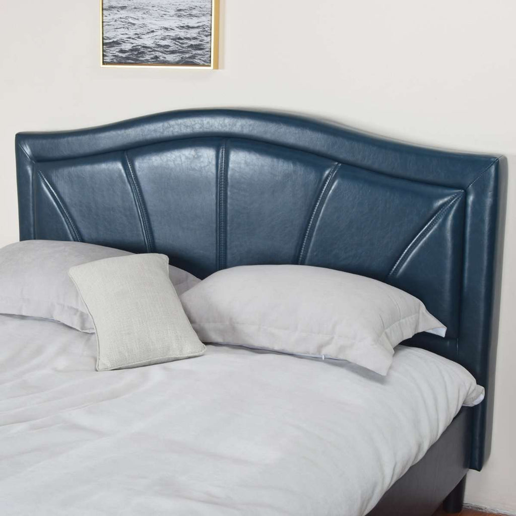 Camberwell King Single Bed Blue PU Leather Upholstered