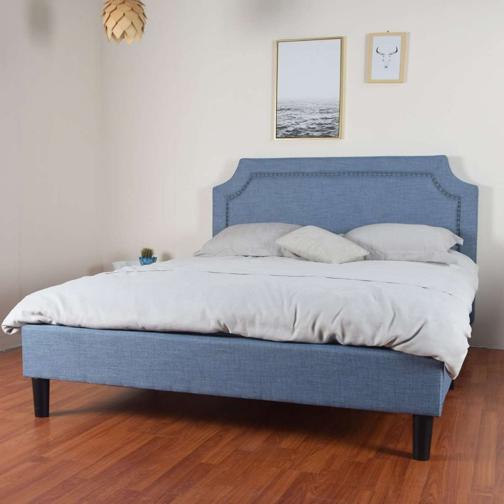 Reynard Double Bed Blue Linen Fabric Upholstered
