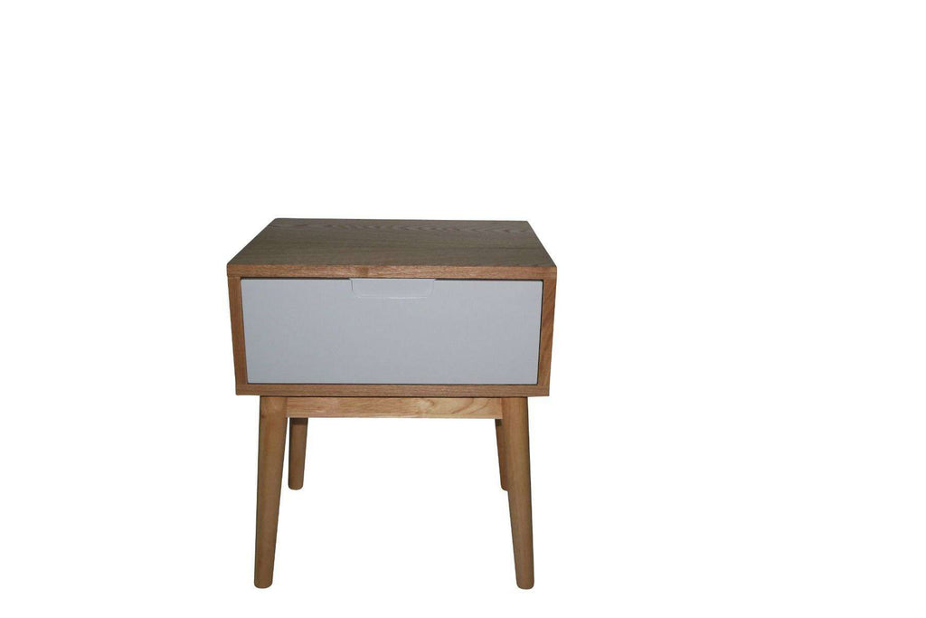 Annika Scandinavian Side Table with Drawer - Grey