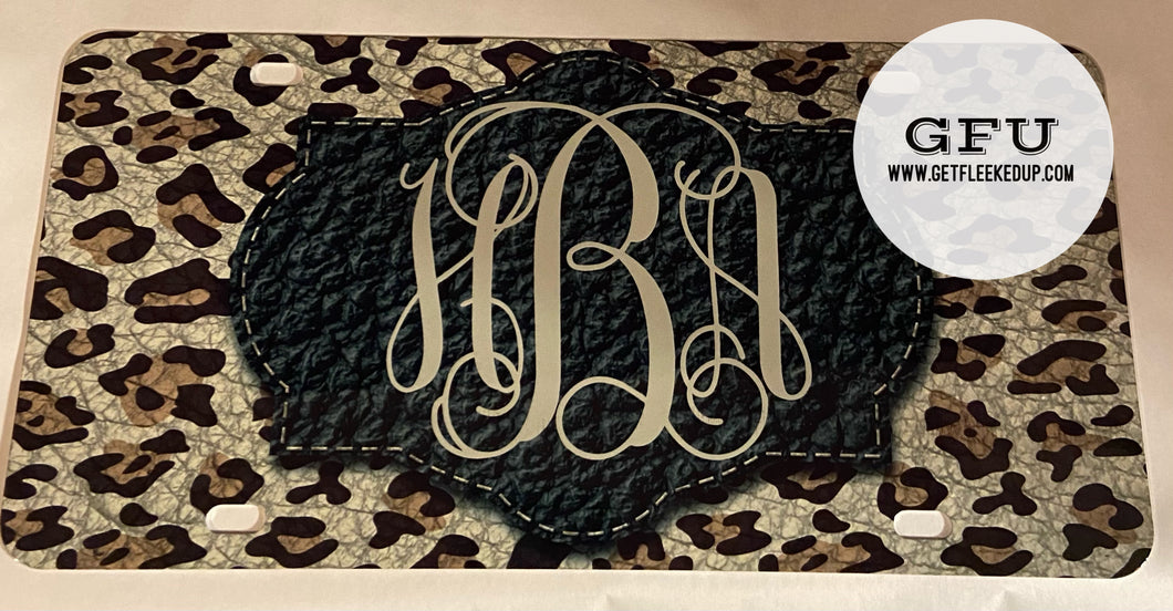 Leather Leopard Monogram Car Tag