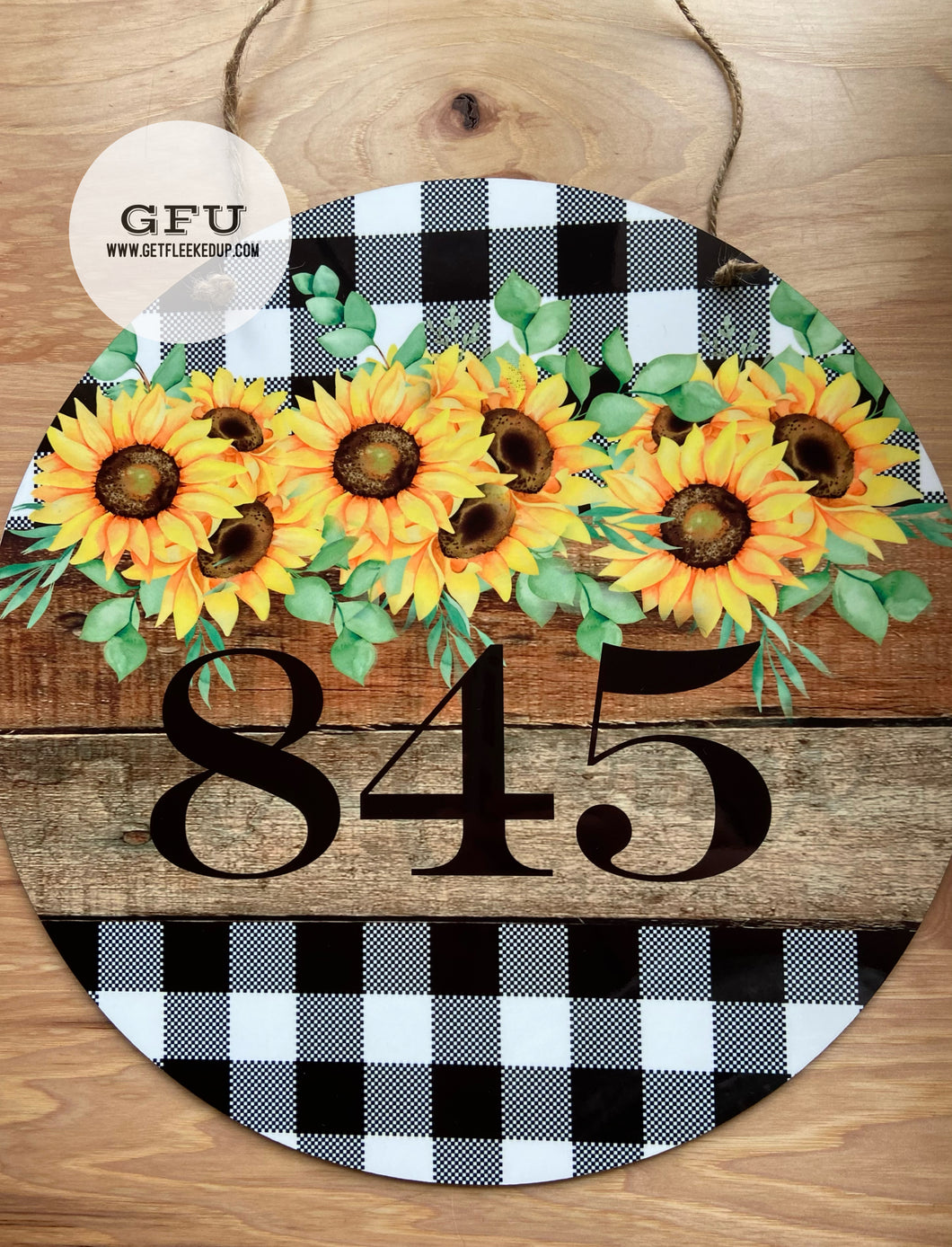 Plaid Sunflower Door Hanger