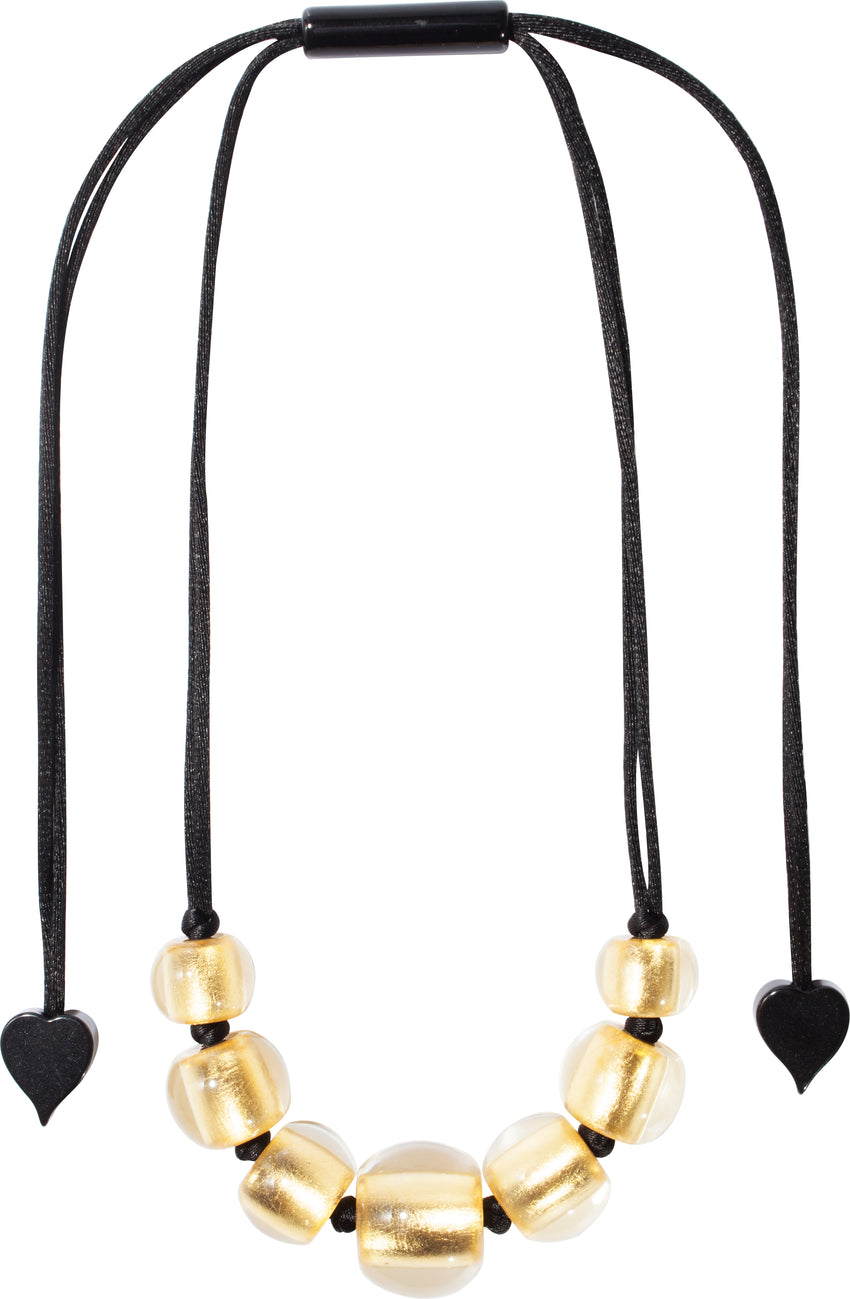 1000126necklace PRECIOUS 7beads adjust, goldleaf