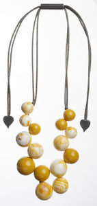 1190102MMUSQ15,necklace BOLAS 15beads adjust, marblemustard