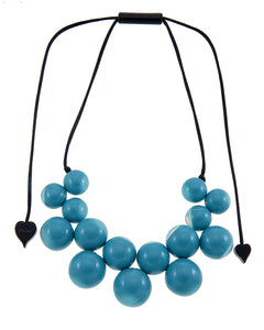 1190102TURQQ15 necklace BOLAS 15beads adjust, turquoise