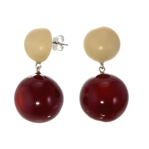 11905013060Q00 earring BOLAS 2beads pin, red/creammat