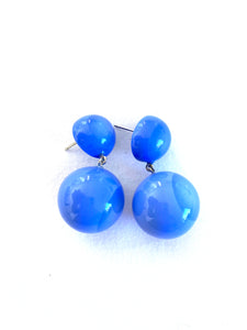 1190501PBLUQ00 earring BOLAS 2beads pin, blue