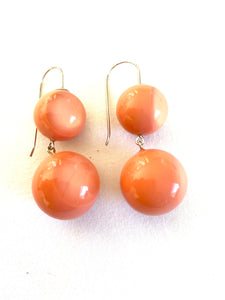 1190505BP02Q00 earring BOLAS 2beads shorthook, orange