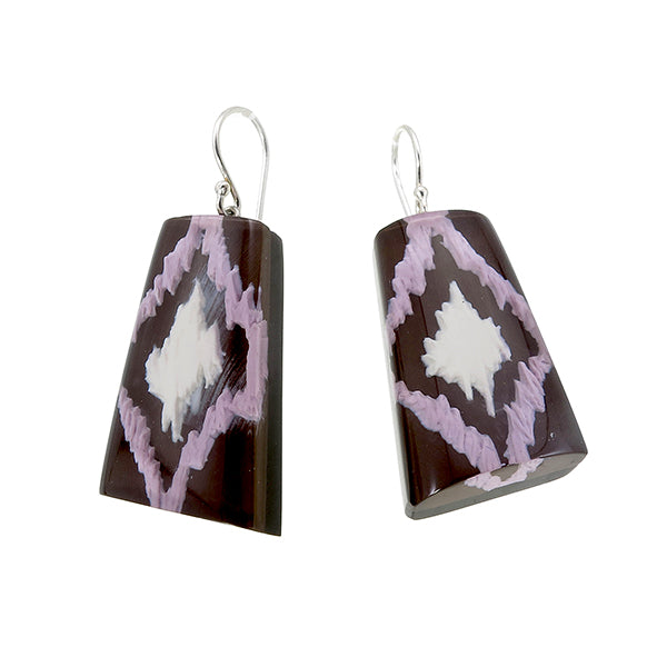 1270501BRPUQ00 Ikkat Earrings 501 Brown Purple