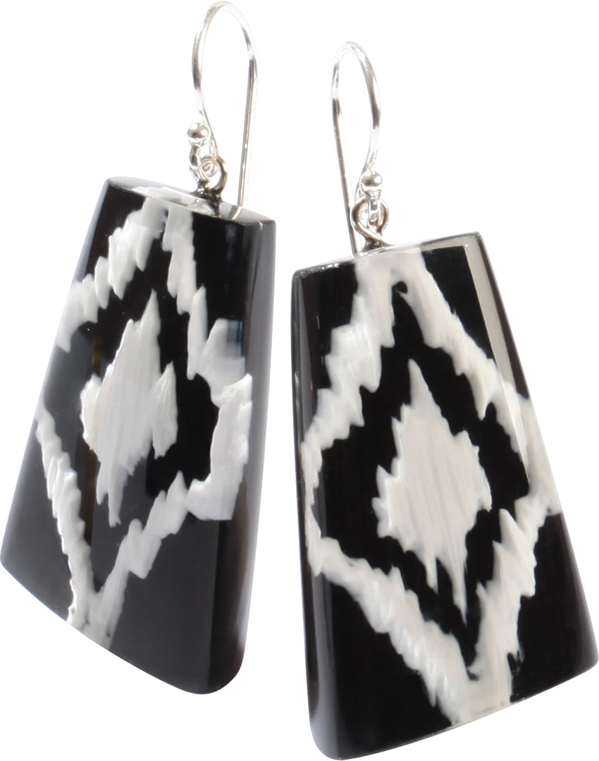 1270501BWHIQ00 Ikkat Earrings 501 Black White
