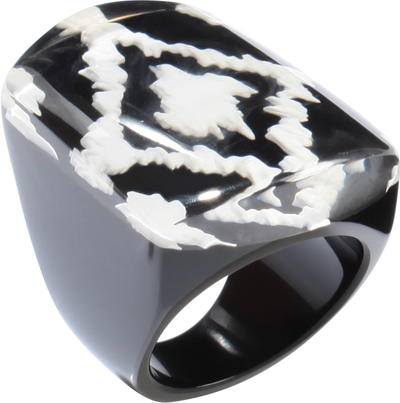 1270601BWHIQ0L Ikkat Ring 601 Black White L