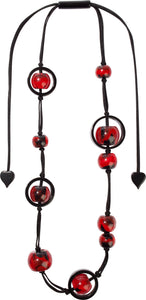 1300103REDDQ10 necklace SATURN 10beads adjust, red