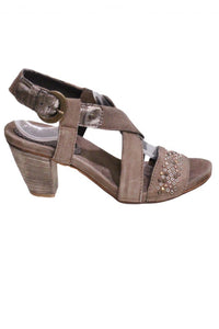 Stone Khrio Sandal Heel with Studs and Buckle Style and Grace