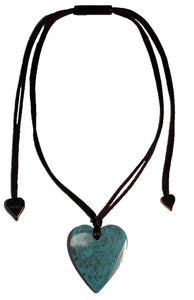 5060204MTURQ00 Heart Small Marble turquoise MTUR (Adj Cord)