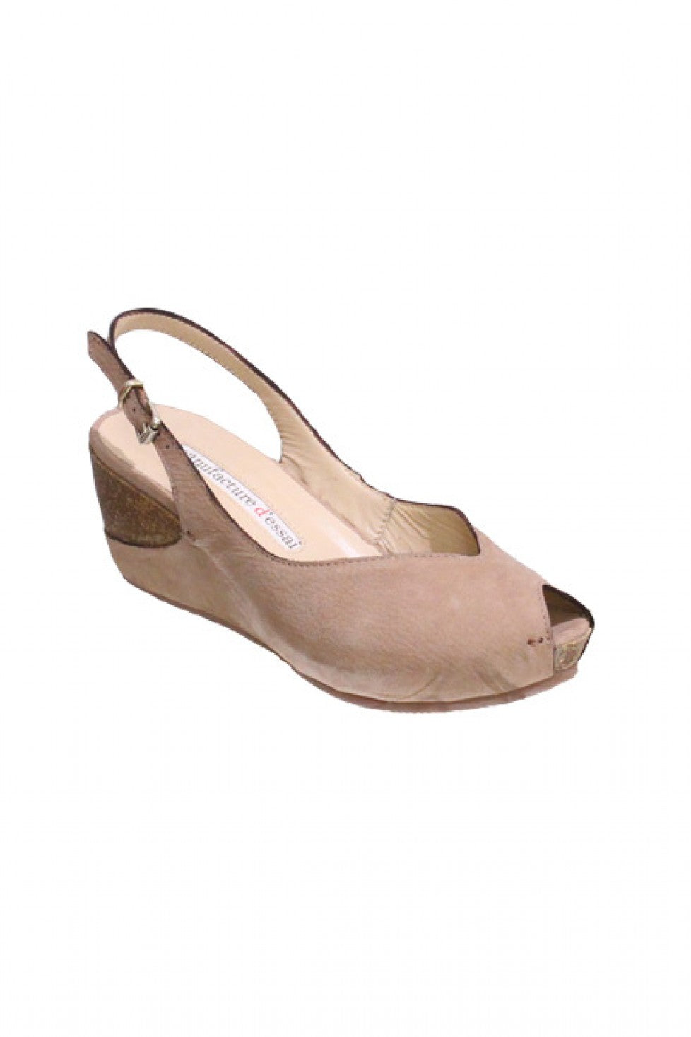 Natural Beige Maunfacture D̩ssai Wedge with Sling Back Style and Grace