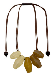 2300101SAFFQ05 necklace SHADES 5beads adjust, saffron