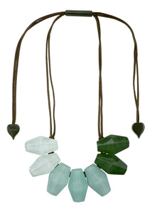 2300102PISTQ07 necklace SHADES 7beads adjust, pistachio