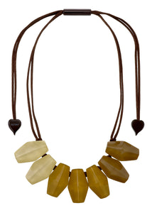 2300102SAFFQ07 necklace SHADES 7beads adjust, saffron