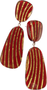 2320501REDBQ00 earring MIRAGE 2beads pin, red/bronze
