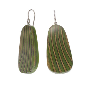 2320502GREBQ00 earring MIRAGE 1bead shorthook, green/gold