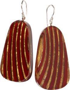 2320502REDBQ00 earring MIRAGE 1bead shorthook, red/gold