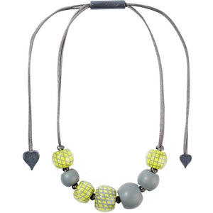8190102BGREQ07 CITY BEADS Green/Grey (adj) #