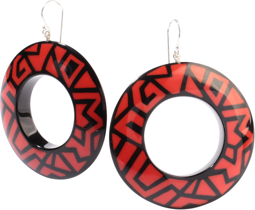 3260501BREDQ00 NYC Earrings 501 Black Red