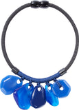 3280101BLUEQ05 necklace INGRID 5beads magnet, blue