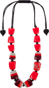 3300101REDDQ14 necklace SUMMER 14beads adjust, red