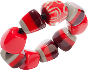3300301REDDQ0M  bracelet SUMMER 9beads elastic, red