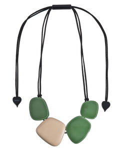 3330101GREEQ04 necklace IBIZA 4beads adjust, green