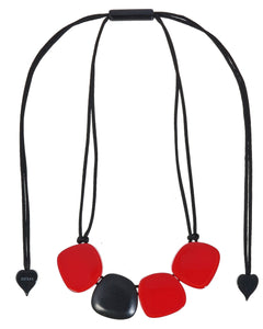 3330102REDDQ04 necklace IBIZA 4beads adjust, red