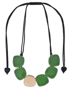 3330103GREEQ06 necklace IBIZA 6beads adjust, green