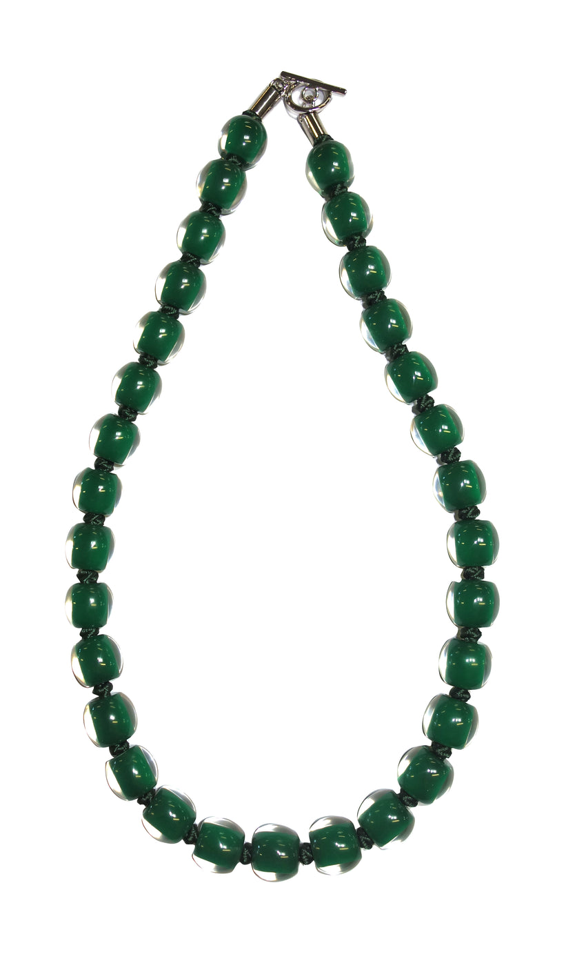 40101079164Q30 Necklace 107 colorfulbeads2 dark green bead /green cord