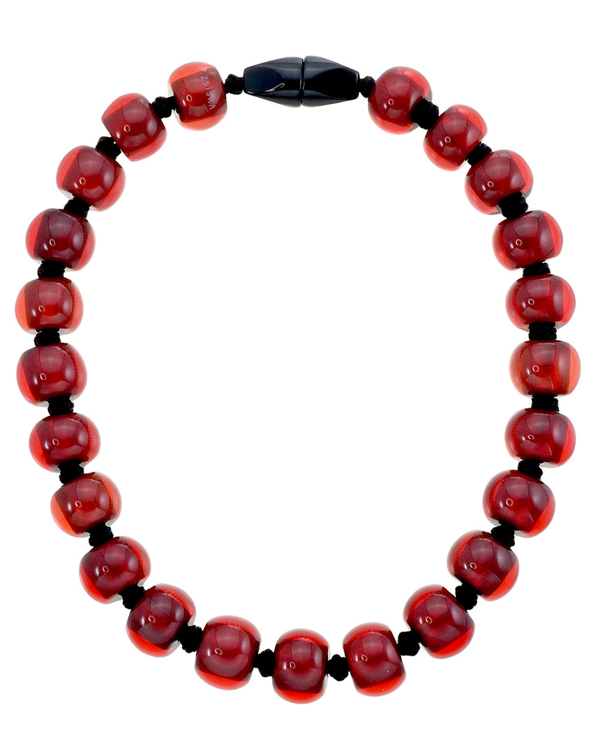 4010118necklace COLOURFULBEADS 23beads magnet, red