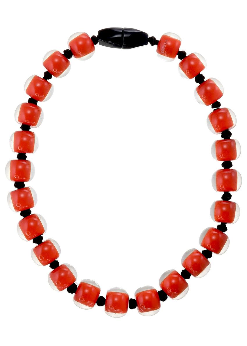 40101189206Q23 necklace COLOURFULBEADS 23beads magnet, darkorange