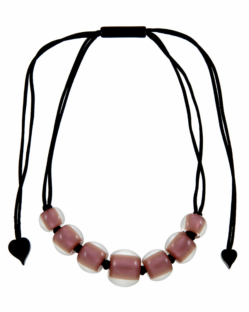 40101219198Q07 Colourful Beads Necklace 121 Rose Gold 9198 Q07