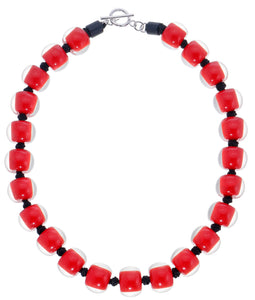 40101329203Q23 necklace COLOURFULBEADS 23beads lock, red